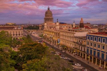 CLKNO100975 El Capitolio and Hotel Inglaterra near Parque Central in Central Havana, Havana, Cuba