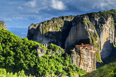CLKNO101367 Orthodox Monastery and rock boulders in Meteora near Kalambaka, Thessaly, Greece