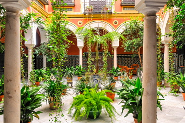 CLKFR105629 courtyard in Seville, Andalusia, Spain, Europe