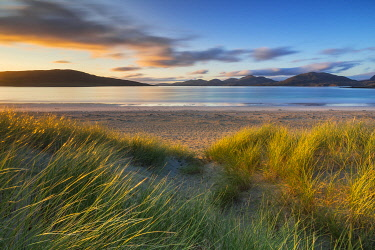 CLKMB101791 Sunset at Luskentyre beach, Na h-Eileanan Siar, Western isles, Outer Hebrides Harris, Scotland, United Kingdom