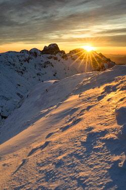 CLKCC105363 Winter sunset at Gendarme mountain, Cerreto Laghi, municipality of Ventasso, Reggio Emilia province, Emilia Romagna, Italy, Europe