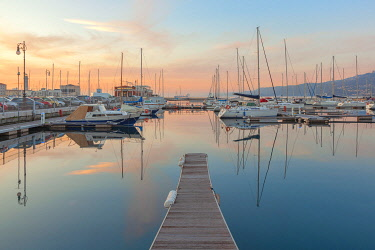 CLKDC105697 Sunset on the port of Trieste. Trieste, Friuli-Venezia Giulia, Italy