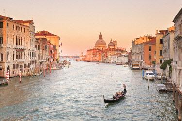 CLKDC95972 Santa Maria della Salute Basilica from Ponte della Accademia (Accademia Bridge) at sunset, Venice, Veneto, Italy