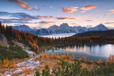 CLKMR97307 Autumn sunrise at Lake Federa, Cortina d'Ampezzo, Veneto, Italy.