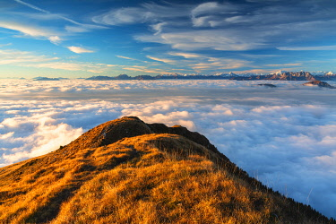 CLKMR98562 Sunset from Mount Guglielmo above the Clouds, Brescia province, Lombardy district, Italy