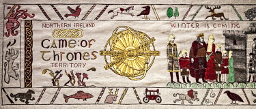 NIR8932 Detail of the Game of Thrones Tapestry, Ulster Museum, Co. Antrim, Northern Ireland, United Kingdom.