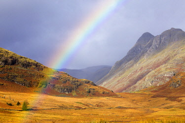 ENG16178 Rainbow over the Great Langdale Valley viewed from Blea Tarn, with the Pike of Stickle mountain in the background, Lake District, Cumbria, England