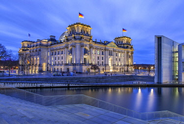 The German Parliament, the Bundestag in the old Reichstag Building at the River Spree.