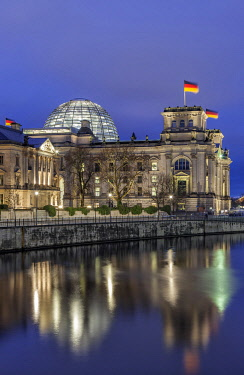 GER11714 The German Parliament, the Bundestag in the old Reichstag Building at the River Spree.