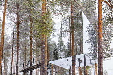 The Mirrorcube or 'Cube' (designed by architects Tham & Videgard) suspended in pine trees at the Treehotel near Lulea, Lapland, Sweden.