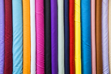 QT01431 Colourful cotton fabrics for sale in Souk Waqif, Doha, Qatar