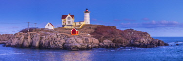 USA, Maine, York Beach, Nubble Light lighthouse, dusk