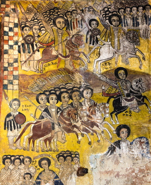 ETH3559 Ethiopia, Abraha Atsbeha, Tigray Region. A striking wall mural in therock-hewn church of Abraha wa-Atsbeha celebrates the victory of troops armed with lances over Egyptians at the battle of Gundet in...