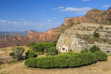 ETH3577 Ethiopia, Gheralta Mountains, Tigray Region.  The ancient basilica church of Abuna Gebre Mikael was excavated in a solid dome of rock high in the scenic Gheralta Mountains.