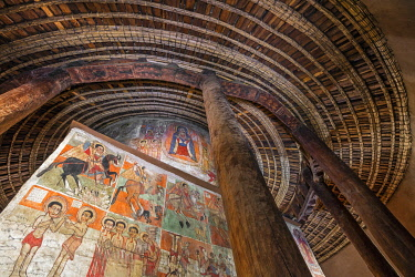ETH3687 Ethiopia, Lake Tana, Gorgor, Amhara Region. The seventeenth century paintings on the sanctuary walls of the church at Debre Sina Maryam monastery are some of the finest of the First Gondarine school t...