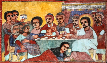 ETH3695 Ethiopia, Lake Tana, Dek Island, Amhara Region. A mural in the eighteenth century church at Narga Selassie monastery depicts the last supper with Mary Magdalene anointing Jesus's feet with perfume. A...