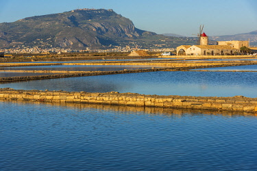 ITA13828AW Europe, Italy, Sicily. In the saline of Trapani looking towards Erice.