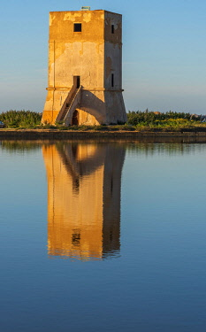 ITA13829AW Europe, Italy, Sicily. In the saline of Trapani. The old tower Torre Nubia