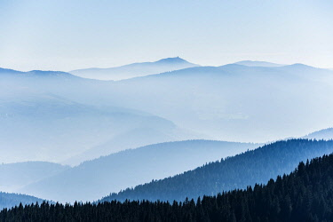 IBXDJS04828021 Staggered mountain ranges in the haze, am Hohneck, Col de la Schlucht, Vosges, Alsace-Lorraine, France, Europe
