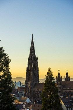 IBXDJS04834805 Freiburg Cathedral, sunset, Freiburg im Breisgau, Black Forest, Baden-Wurttemberg, Germany, Europe