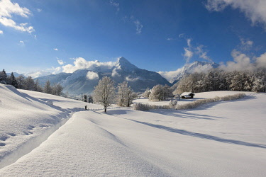IBXHEB04828077 Winter landscape with view of the Watzmann, Hochkalter on the right, Bischofswiesen National Park Berchtesgaden, Berchtesgadener Land, Upper Bavaria, Bavaria, Germany, Europe