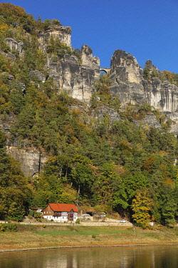 IBXMAL04832735 Elbe near Rathen, Bastei Bridge and Bastei Rock, Elbe Sandstone Mountains, National Park Saxon Switzerland, Saxony, Germany, Europe