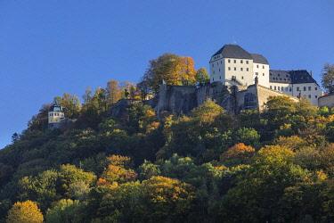 IBXMAL04832737 Koenigstein Fortress, Elbe Sandstone Mountains, Saechsische Schweiz, Saxon Switzerland, Saxony, Germany, Europe