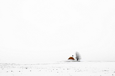 IBXSEI04849883 Chapel Sankt Wallburga on a snow-covered meadow against a white background, Kaufering, Upper Bavaria, Germany, Europe