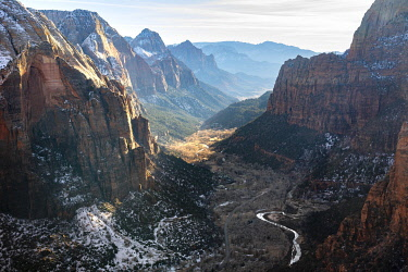 IBXVFW04836480 View from Angels Landing into Zion Canyon with Virgin River, Angels Landing Trail, in Winter, Mountain Landscape, Zion National Park, Utah, USA, North America