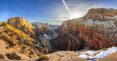IBXVFW04836483 View from Angels Landing into Zion Canyon with Virgin River, Angels Landing Trail, in Winter, Mountain Landscape, Zion National Park, Utah, USA, North America