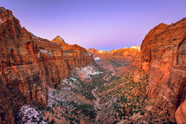 IBXVFW04836555 View from Canyon Overlook into Zion Canyon with snow, at sunrise, back left Bridge Mountain, Zion National Park, Utah, USA, North America