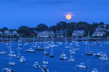 US03716 USA, New England, Massachusetts, Marblehead, Marblehead Harbor, moonrise