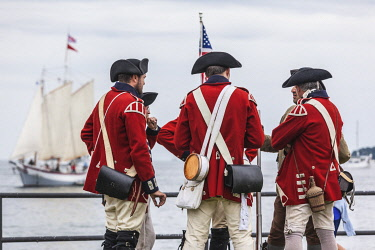 US03746 USA, New England, Massachusetts, Cape Ann, Gloucester, re-enactors of the Battle of Gloucester,  August 8-9, 1775, battle convinced the Americans of the need of creating an American Navy to fight agai...