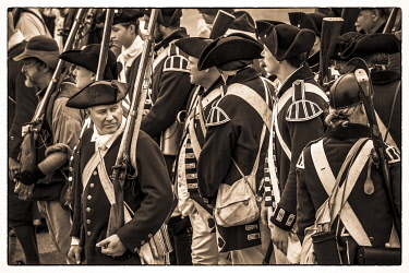 US03749 USA, New England, Massachusetts, Cape Ann, Gloucester, re-enactors of the Battle of Gloucester,  August 8-9, 1775, battle convinced the Americans of the need of creating an American Navy to fight agai...