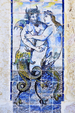 POR10556AW Azulejos (ceramic tiles), 17th century, of the Palacio dos Marqueses de Fronteira (Palace of the Marquises of Fronteira), a pearl of traditional Portuguese noble architecture, dating back to the 17th...