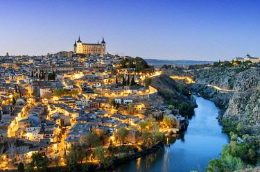 SPA9057AW Toledo and the Tagus river at twilight, a Unesco World Heritage Site. Castilla la Mancha, Spain