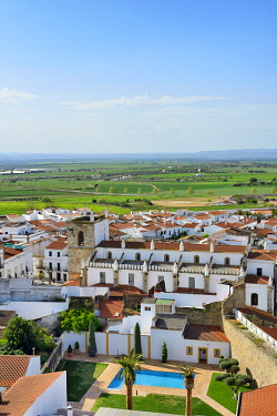 """SPA9093AW The white washed village of Olivenza with Portugal on the horizon. Its a town situated on a disputed section of the Portugalâ�""""Spain border. It was in the Portuguese territory till 1801. Extremadura,..."""