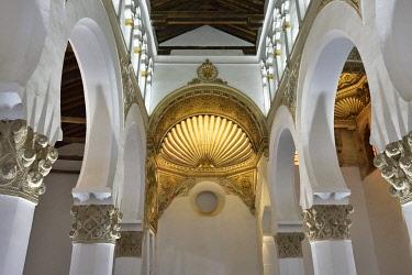 SPA9097AW Santa Maria la Blanca synagogue dating back to the 12th century. A Unesco World Heritage Site. Toledo, Castilla la Mancha. Spain
