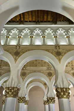 SPA9117AW Santa Maria la Blanca synagogue dating back to the 12th century. A Unesco World Heritage Site. Toledo, Castilla la Mancha. Spain