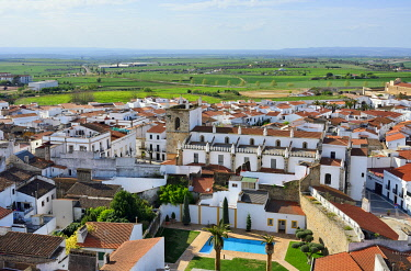 """SPA9129AW The white washed village of Olivenza with Portugal on the horizon. Its a town situated on a disputed section of the Portugalâ�""""Spain border. It was in the Portuguese territory till 1801. Extremadura,..."""