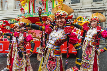 TPX69771 England, London, Chinatown, Chinese New Year Parade, Female Parade Participants in Colourful Chinese Costume