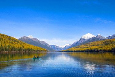 USA14394AW Kayaking on Bowman Lake, Glacier National Park, Montana, USA
