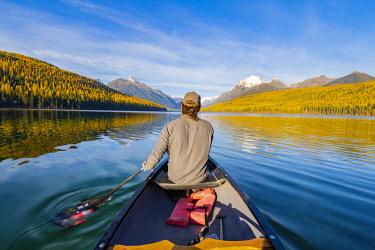 USA14399AW Kayaking on Bowman Lake, Glacier National Park, Montana, USA
