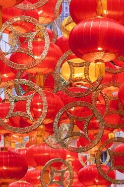 CH11839AW Chinese New Year decorations on Lee Tung Avenue, Wan Chai, Hong Kong Island, Hong Kong