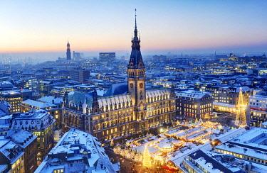 IBLCOF01792697 Town hall and Christmas market at dusk, Hamburg, Germany, Europe