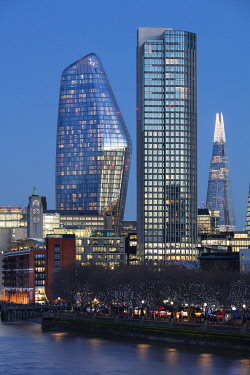 IBLDWH04833424 Skyscrapers on the Thames, Dusk, Southwark, London, England, Great Britain