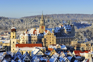 IBLMKL01791284 View over the historic town centre of Sigmaringen with the former royal palace residence and administrative seat of the Princes of Hohenzollern-Sigmaringen, Sigmaringen district, Baden-Wuerttemberg, G...