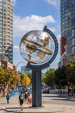 IBLMMW04824168 Sculpture International Village Globe, globe, downtown, Vancouver, British Columbia, Canada, North America