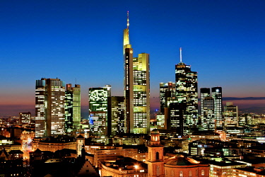 IBLMOX01855636 View of Frankfurt and its skyline, Commerzbank, Hessische Landesbank, Deutsche Bank, European Central Bank, Skyper building, Sparkasse, DZ Bank, Paulskirche church, Roemer city hall, Frankfurt, Hesse,...