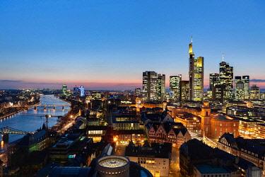 IBLMOX01855641 View of Frankfurt and its skyline, Commerzbank, Hessische Landesbank, Deutsche Bank, European Central Bank, Skyper building, Sparkasse, DZ Bank, Paulskirche church, Roemer city hall, Frankfurt, Hesse,...